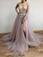Load image into Gallery viewer, Sexy Long Tulle Prom Dress with Beading School Dance Dress Fashion Winter Formal Dress YDP0364