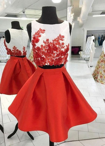 Two Pieces Homecoming Dress With Applique Custom Made Short Dance Dress Fashion Short Prom Dress YDP0230