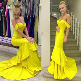 Off the Shoulder Mermaid Long Prom Dresses Custom-made School Dance Dress Fashion Graduation Party Dress YDP0506