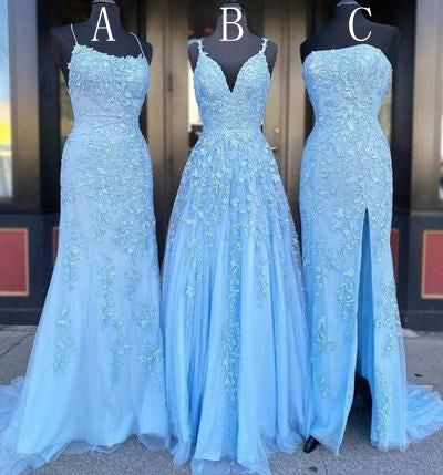 Long Prom Dresses with Appliques and Beading, Grad Dresses Long, 8th Graduation Dress ,School Dance Dress YDP1079