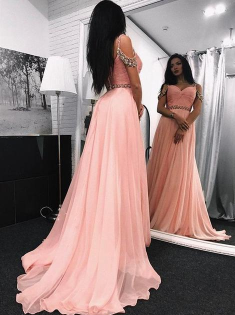A-line Long Prom Dress With Beading School Dance Dress Fashion Winter Formal Dress YDP0352
