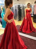 Red Two Pieces Long Prom Dress Custom-made School Dance Dress Fashion Graduation Party Dress YDP0455