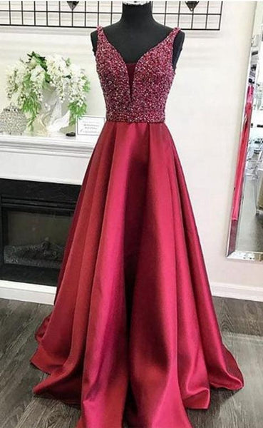 Beaded A-line Long Prom Dress School Dance Dress Fashion Winter Formal Dress YDP0367