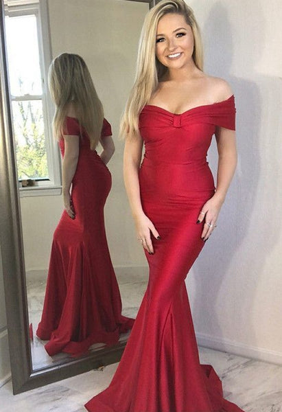 Off the Shoulder Mermaid Long Prom Dress School Dance Dress Fashion Winter Formal Dress YDP0370