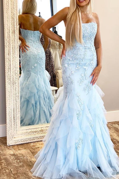 Strapless Long Prom Dresses with Applique and Beading 8th Graduation Dress School Dance Winter Formal Dress YDP0926