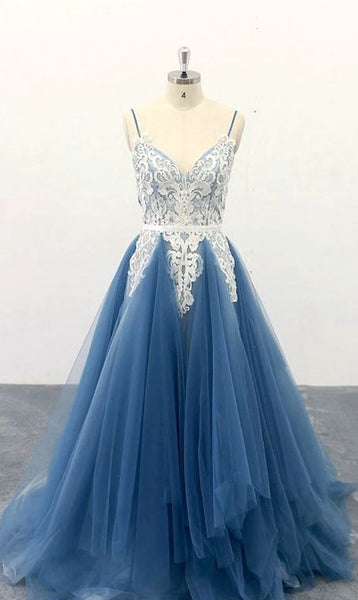 Tulle Long Prom Dress with Applique,8th Graduation Dress, Evening Gown YDP0804