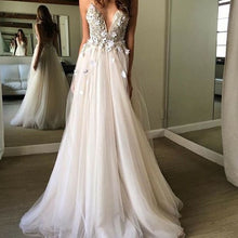 Load image into Gallery viewer, Sexy Deep V-neck Beach Wedding Dress Fashion Custom Made Bridal Dress YDW0046