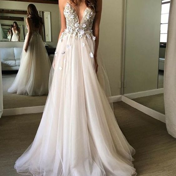 Sexy Deep V-neck Beach Wedding Dress Fashion Custom Made Bridal Dress YDW0046
