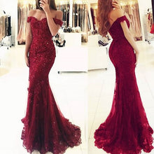 Load image into Gallery viewer, Off Shoulder Long Prom Dress With Applqiue and Beading Custom-made School Dance Dress Fashion Colored Wedding Dress YDP0631