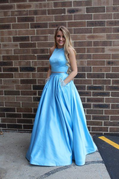 Two Pieces Long Prom Dresses 8th Graduation Dress School Dance Winter Formal Dress YDP0866