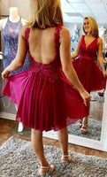 Open Back Homecoming Dress with Applique and Beading Custom Made Short Dance Dress Fashion Short Prom Dress YDP0186