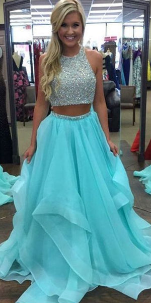 Open Back Two Pieces Long Prom Dresses With Beading Custom-made School Dance Dress Fashion Graduation Party Dress YDP0535