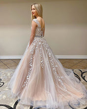 Load image into Gallery viewer, 2021 Ball Gown Long Prom Dresses with Appliques and Beading ,Formal Dresses ,Wedding Dress YPS1062