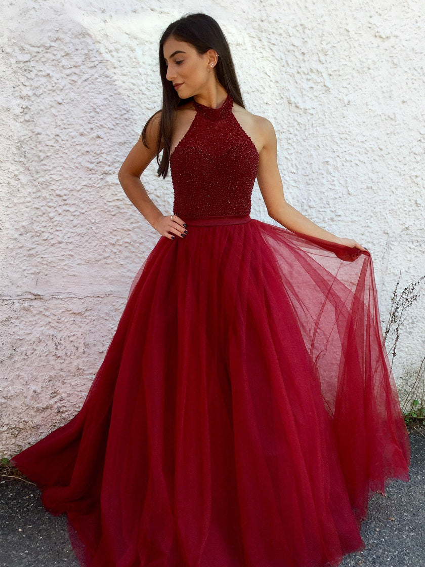 Halter Neck Long Prom Dress With Beading Custom-made School Dance Dress Fashion Graduation Party Dress YDP0590