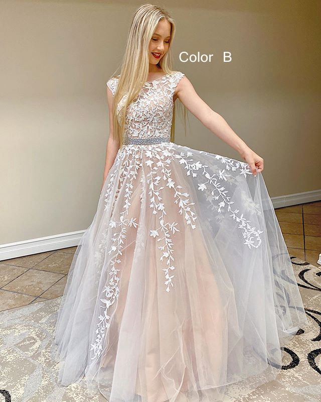 2021 Ball Gown Long Prom Dresses with Appliques and Beading ,Formal Dresses ,Wedding Dress YPS1062