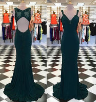 Open Back Mermaid Long Prom Dress with Applique Fashion Wedding Party Dress YDP0026