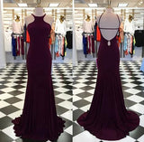 Backless Simple Long Prom Dress Fashion Wedding Party Dress YDP0027