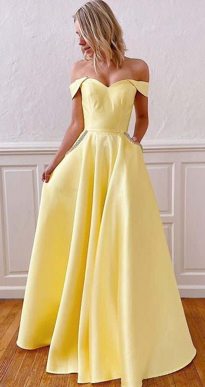 Off Shoulder Long Prom Dresses,Evening Dresses YPS1101