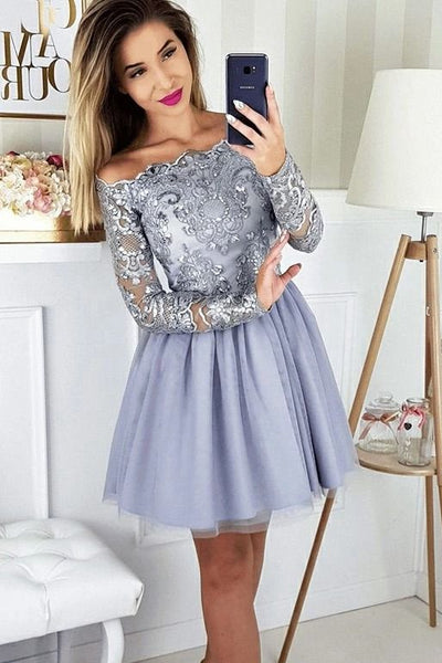 Long Sleeves Homecoming Dress with Applique and Beading ,2020 School Dance Dress ,Short Prom Dress YDH0141