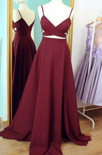 Load image into Gallery viewer, A-line Burgudy Long Prom Dress Sweet 16 Dance Dress Fashion Winter Formal Dress YDP0180