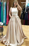 Two Pieces Satin Long Prom Dress With Pockets School Dance Dress Fashion Winter Formal Dress YDP0379