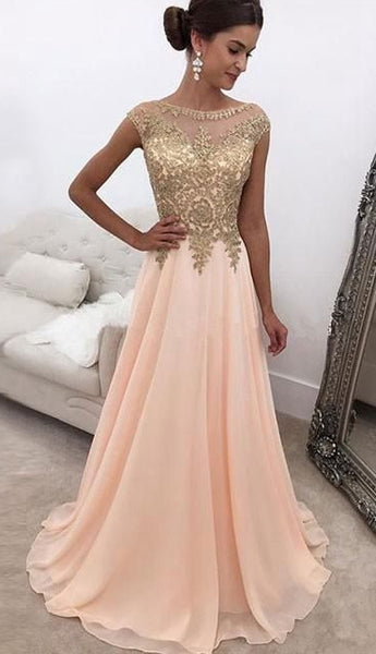 Long Prom Dress with Applique and Beading,8th Graduation Dress, Evening Gown YDP0805