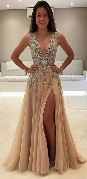 Sex Beaded Long Prom Dress with Slit Deep V Neckline Custom-made School Dance Dress Fashion Graduation Party Dress YDP0433