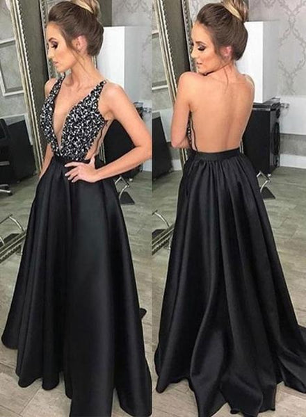 Black Sexy Long Prom Dress with Beading School Dance Dress Fashion Winter Formal Dress YDP0363