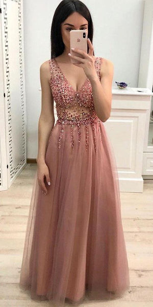 V-neck Beaded Long Prom Dress 8th Graduation Dress Custom-made School Dance Dress YDP0737