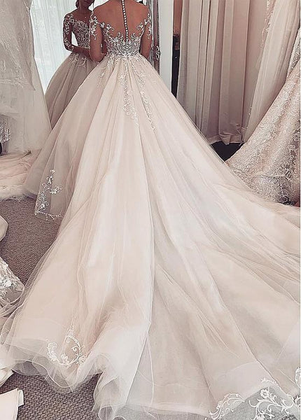 Ball Gown Wedding Dress With Long Sleeves,Fashion Custom Made Bridal Dress YDW0051