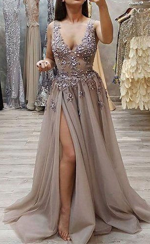Sexy Slit Long Prom Dresses With Beading Custom-made School Dance Dress Fashion Graduation Party Dress YDP0581