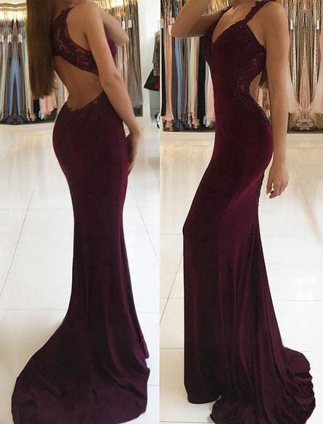 Sexy Mermaid Long Prom Dress With Open Back Custom-made School Dance Dress Fashion Graduation Party Dress YDP0471