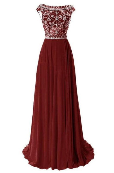 Burgundy A-line Long Prom Dress With Beading Custom Made Formal Dress Fashion Winter Dance Dress YDP0163
