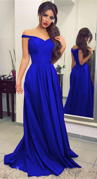 0a508141138 Off the Shoulder A-line Long Prom Dress Royal Blue School Dance Dress  Fashion Winter