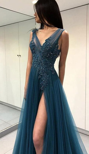 A-line Long Prom Dresses With Applique and Beading Custom-made School Dance Dress Fashion Graduation Party Dress YDP0509