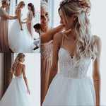 Open Back Beach Wedding Dress Fashion Custom Made Bridal Dress YDW0058