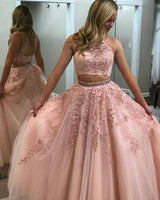 2020 Two Pieces Long Prom Dresses with Applique and Beading 8th Graduation Dress School Dance Winter Formal Dress YDP0902