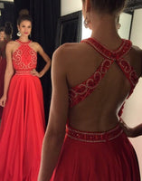 Open Back Beaded Long Prom Dresses Custom-made School Dance Dress Fashion Graduation Party Dress YDP0480
