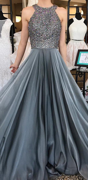 A-line Long Prom Dress With Beading Custom-made School Dance Dress Fashion Wedding Party Dress YDP0619