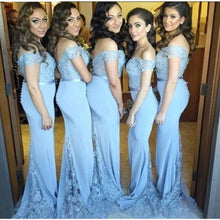 Load image into Gallery viewer, Off Shoulder Long Mermaid Bridesmaid Dress,Custom Made Wedding Party Dress YDB0055