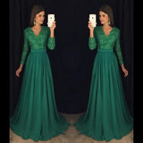 V-neck A-line Long Prom Dress With Sleeves School Dance Dress Fashion Winter Formal Dress YDP0271