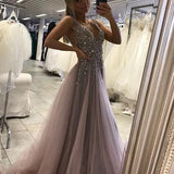 Deep V Neck Sexy Long Prom Dress With Beading Custom-made School Dance Dress Fashion Graduation Party Dress YDP0412