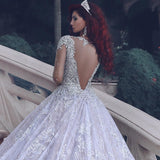 Fashion Lace Ball Gown Wedding Dress With Applique And Beading,Bridal Dresses Ball Gown with Long Sleeves YDW0001