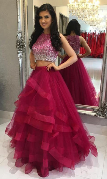 Two Pieces Long Prom Dresses With Beading Custom-made School Dance Dress Fashion Graduation Party Dress YDP0536