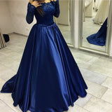 Off Shoulder Prom Dress With Long Sleeves 8th Graduation Dress Custom-made School Dance Dress  YDP0664