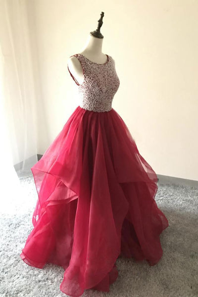 Backless Ball Gown Long Prom Dress With Beading Custom-made School Dance Dress Fashion Wedding Party Dress YDP0622