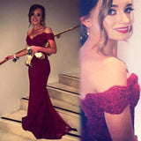 Burgundy Off the Shoulder Mermaid Long Prom Dress School Dance Dress Fashion Winter Formal Dress YDP0265