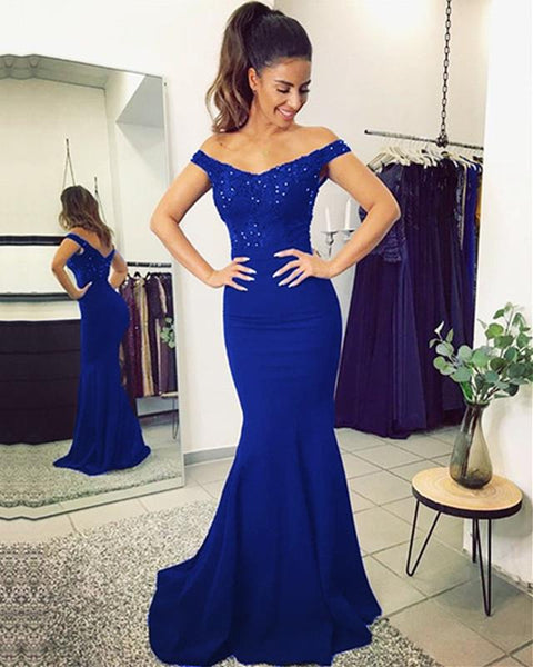 Off Shoulder Mermaid Long Bridesmaid Dress,Custom Made Wedding Party Dress YDB0044