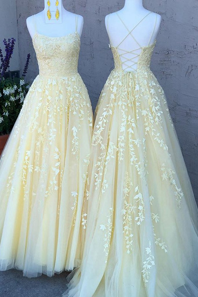Yellow Long Prom Dresses with Applique and Beading 8th Graduation ...