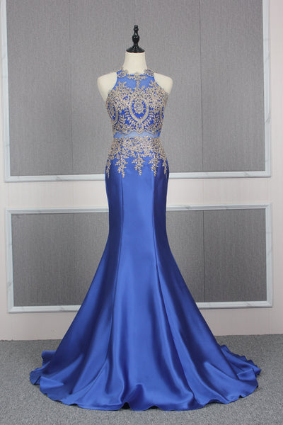 Open Back Mermaid Long Prom Dress 8th Graduation Dress Custom-made School Dance Dress YDP0747